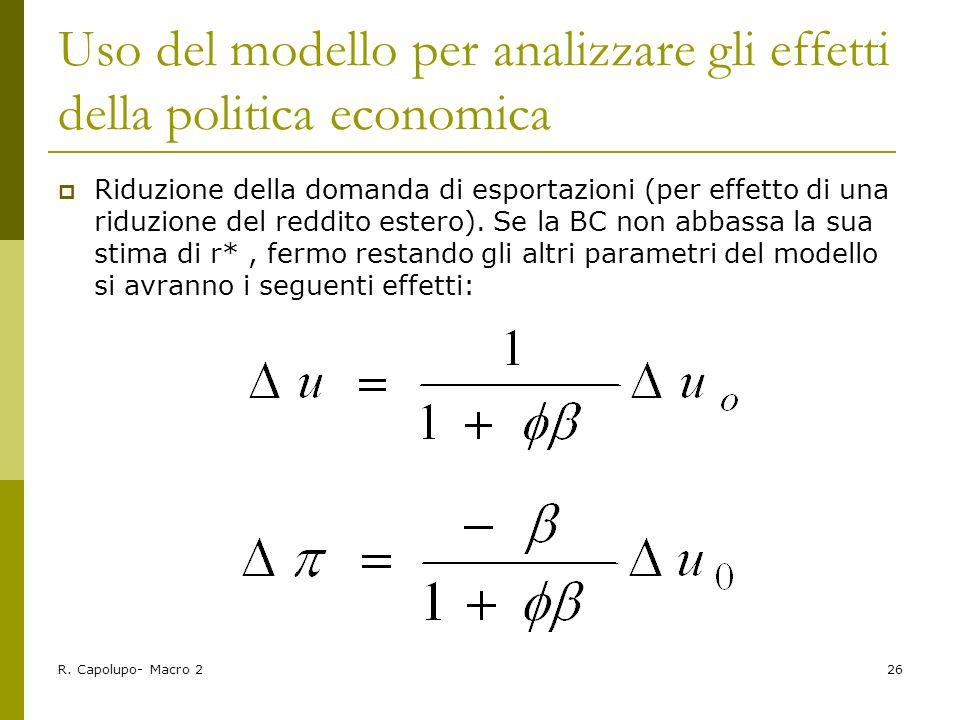 Uso del modello per analizzare gli effetti della politica economica