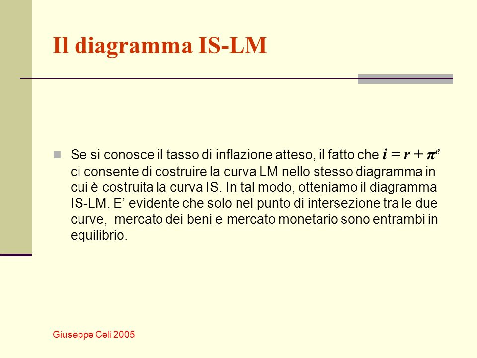 Il diagramma IS-LM