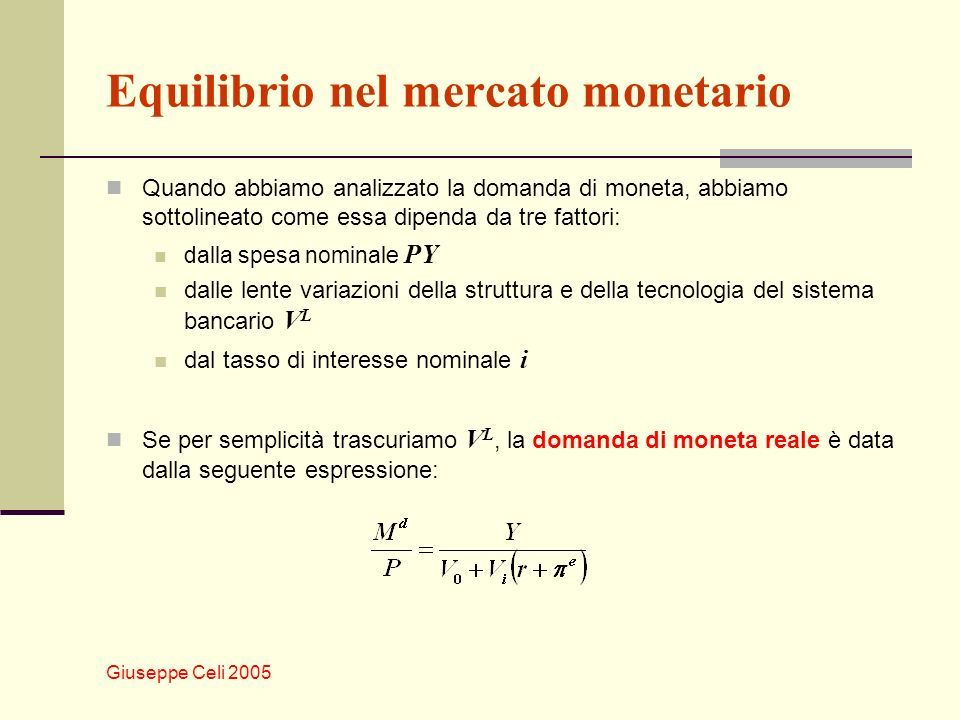 Equilibrio nel mercato monetario