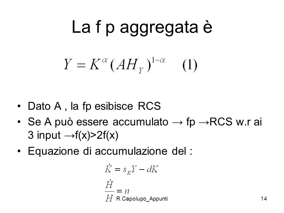La f p aggregata è Dato A , la fp esibisce RCS
