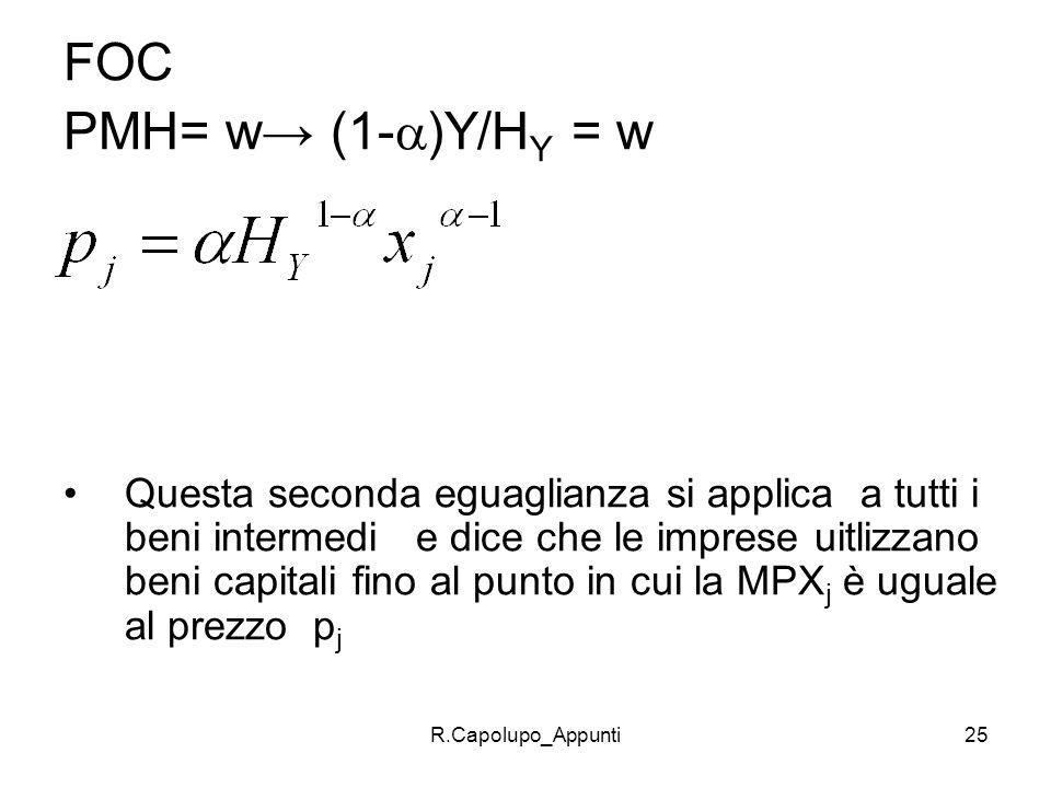 FOC PMH= w→ (1-)Y/HY = w.