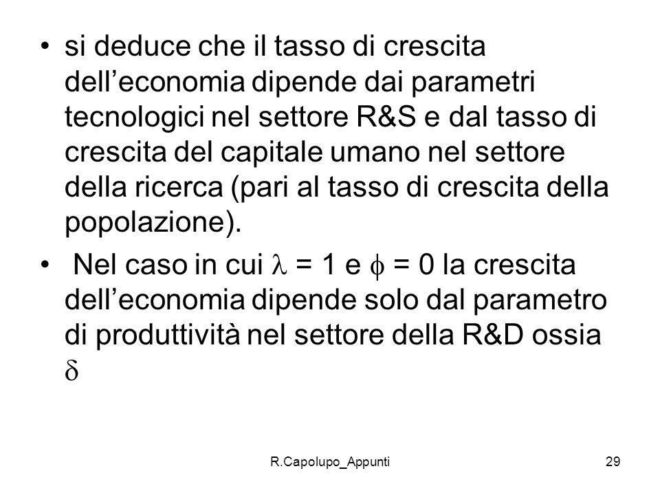 si deduce che il tasso di crescita dell'economia dipende dai parametri tecnologici nel settore R&S e dal tasso di crescita del capitale umano nel settore della ricerca (pari al tasso di crescita della popolazione).