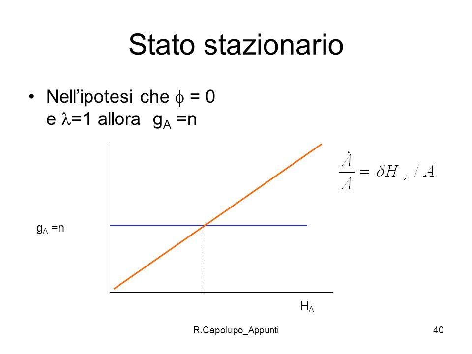 Stato stazionario Nell'ipotesi che  = 0 e =1 allora gA =n gA =n HA