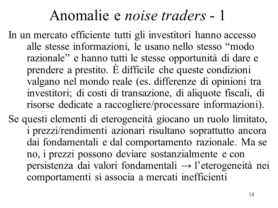 Anomalie e noise traders - 1