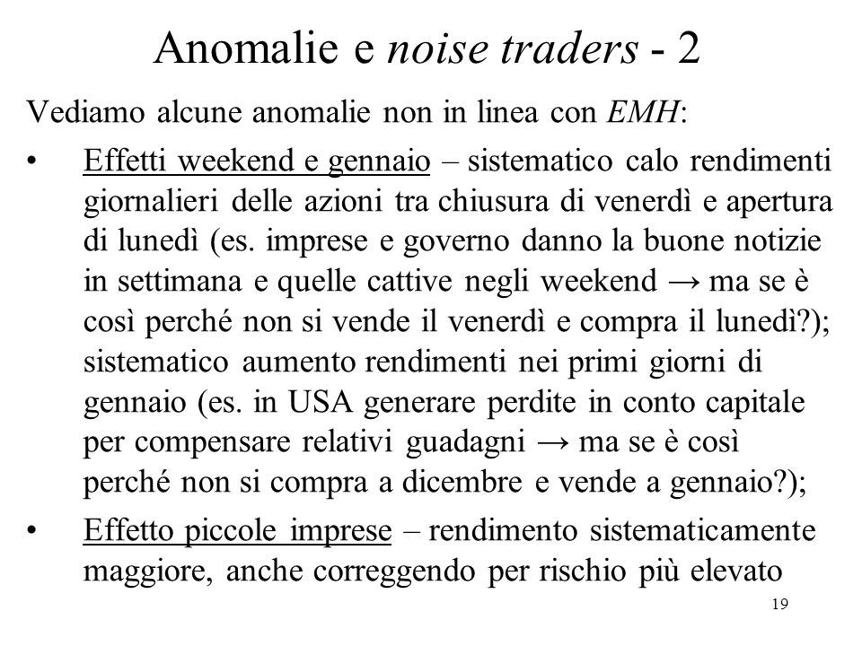 Anomalie e noise traders - 2