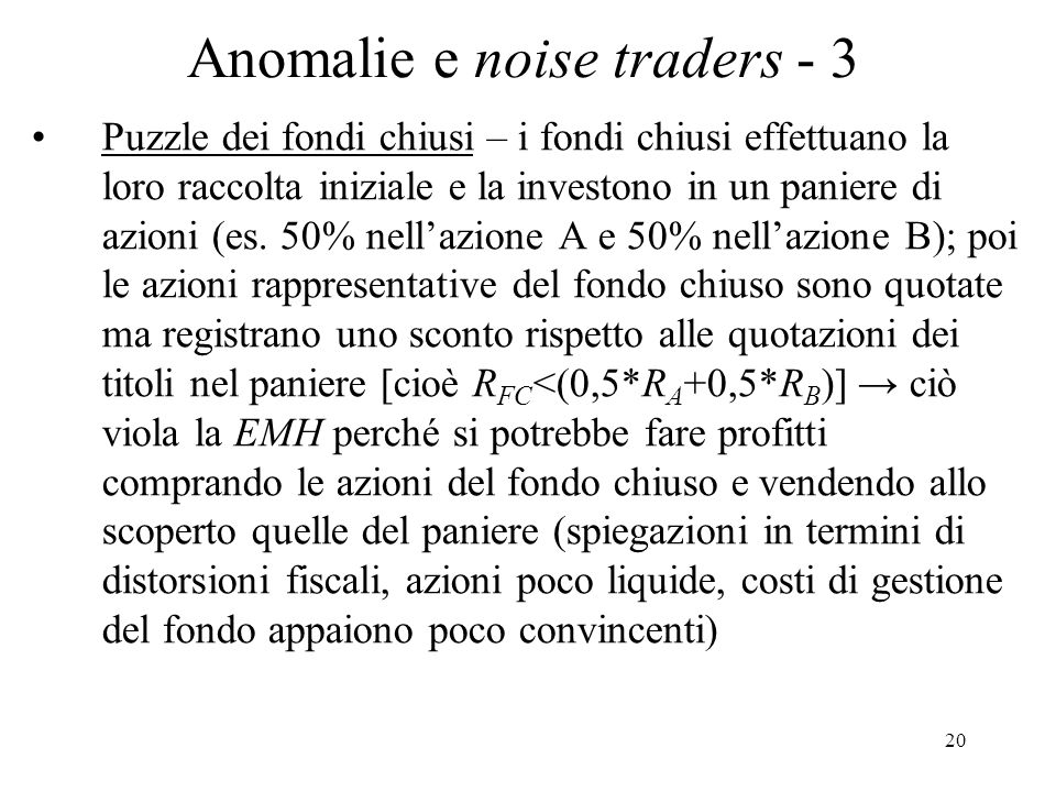 Anomalie e noise traders - 3