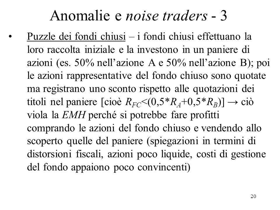 Anomalie e noise traders - 3
