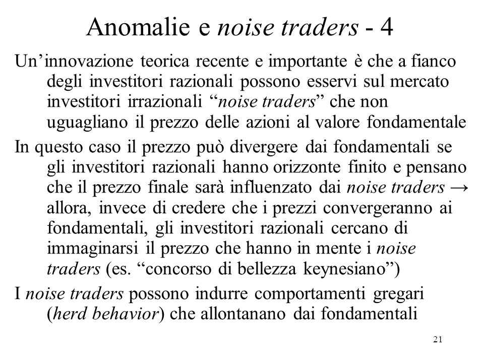 Anomalie e noise traders - 4