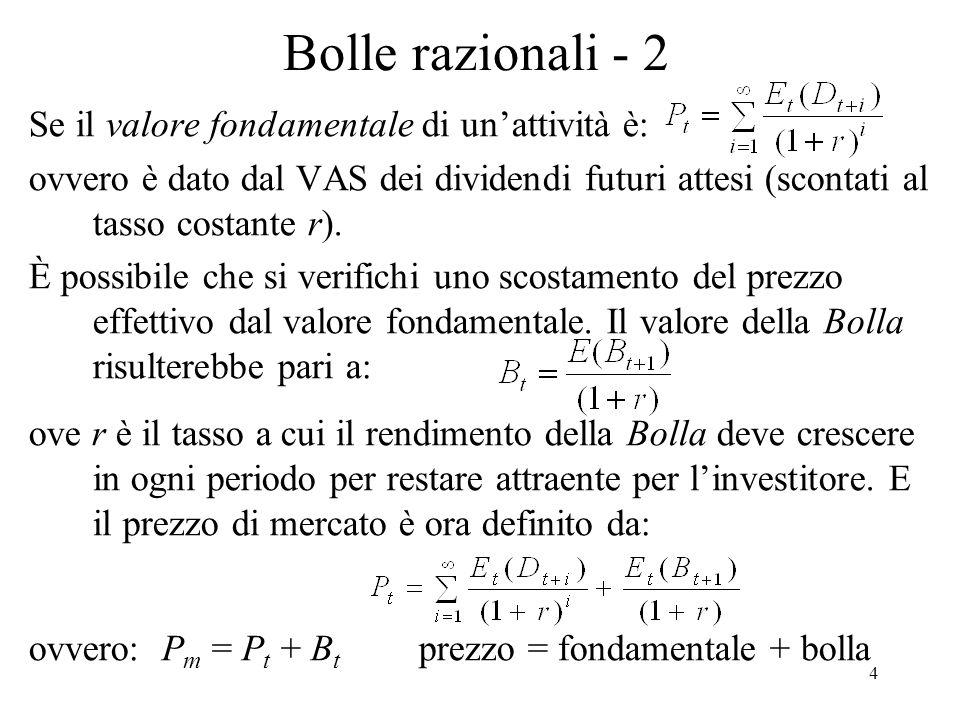 Bolle razionali - 2 Se il valore fondamentale di un'attività è: