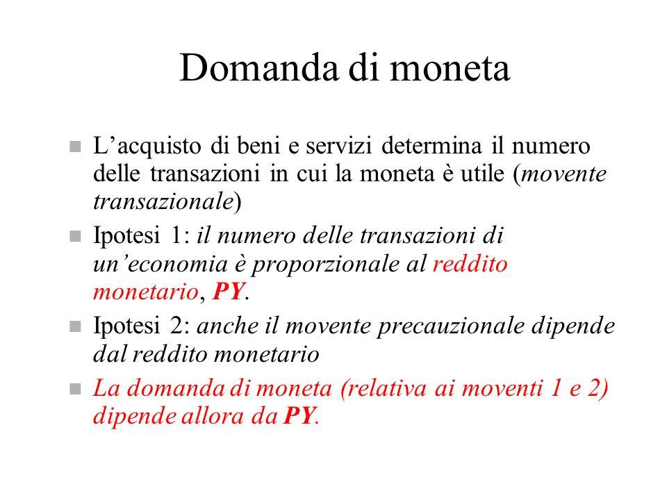Domanda di moneta L'acquisto di beni e servizi determina il numero delle transazioni in cui la moneta è utile (movente transazionale)