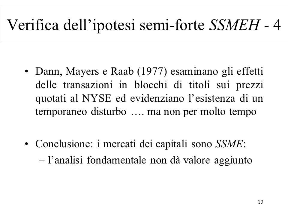 Verifica dell'ipotesi semi-forte SSMEH - 4