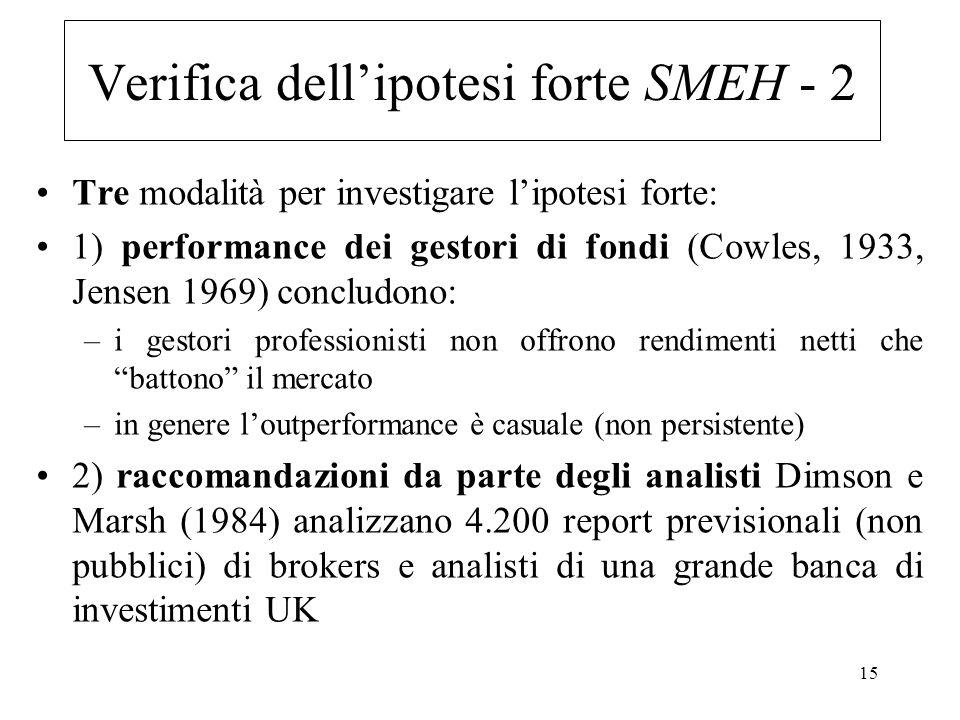 Verifica dell'ipotesi forte SMEH - 2