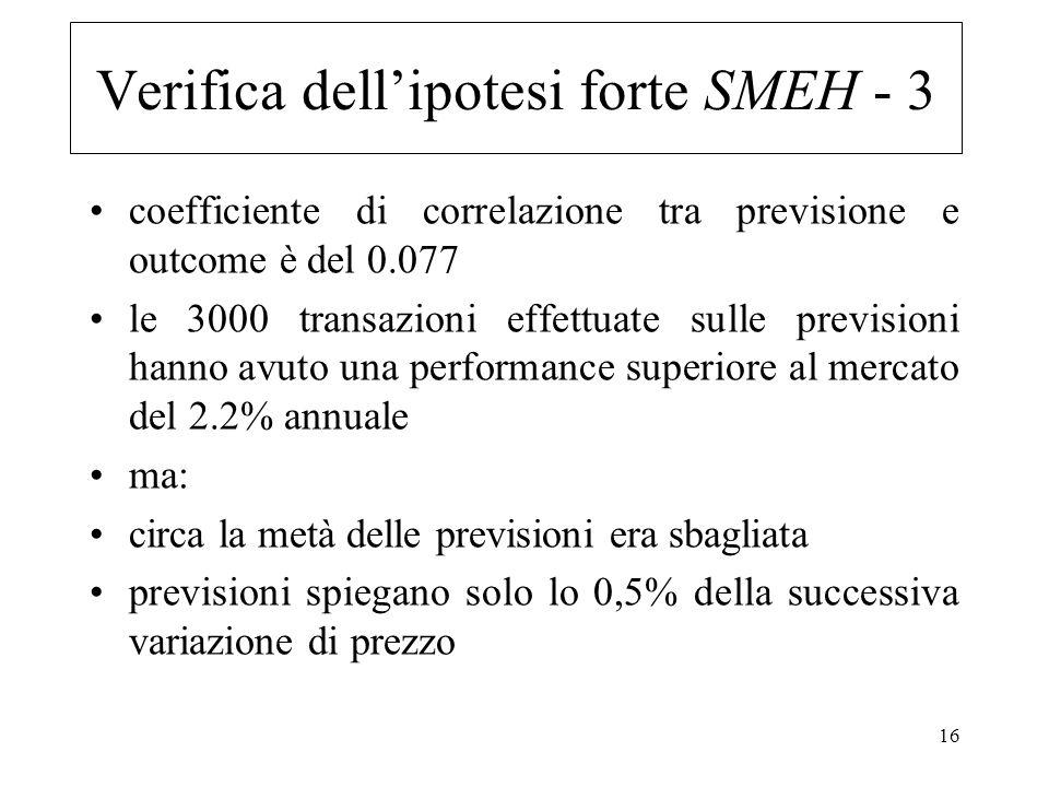 Verifica dell'ipotesi forte SMEH - 3