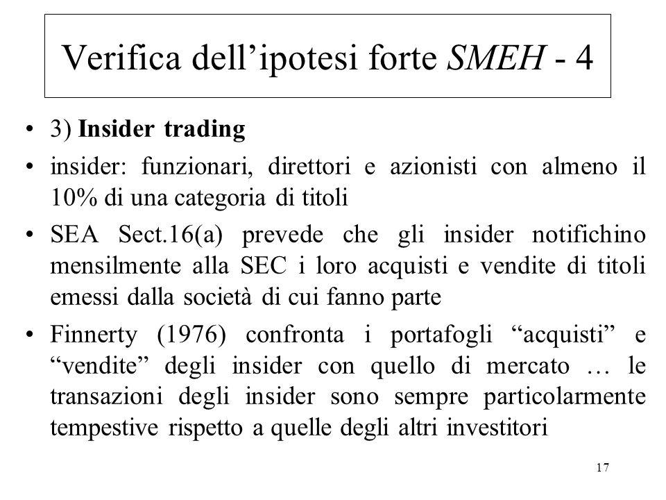 Verifica dell'ipotesi forte SMEH - 4
