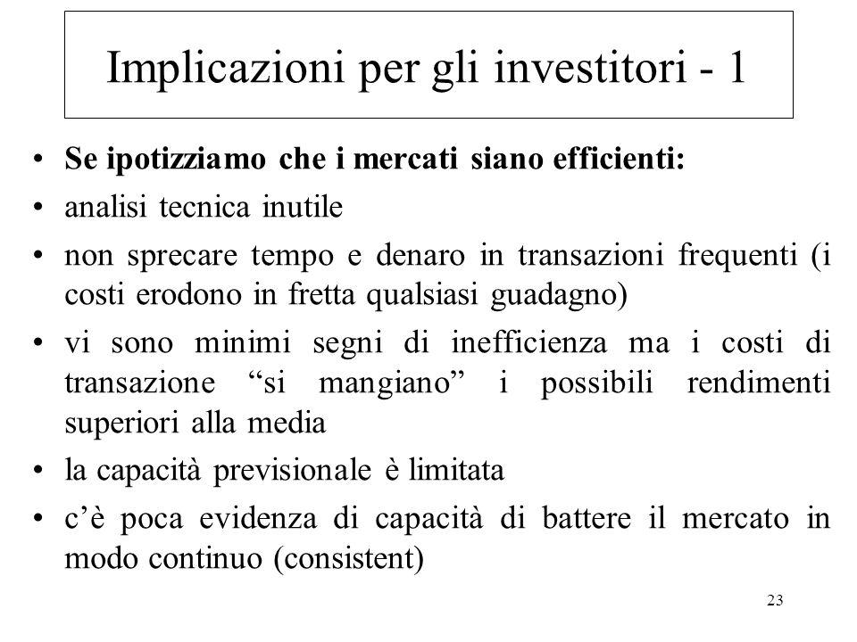 Implicazioni per gli investitori - 1