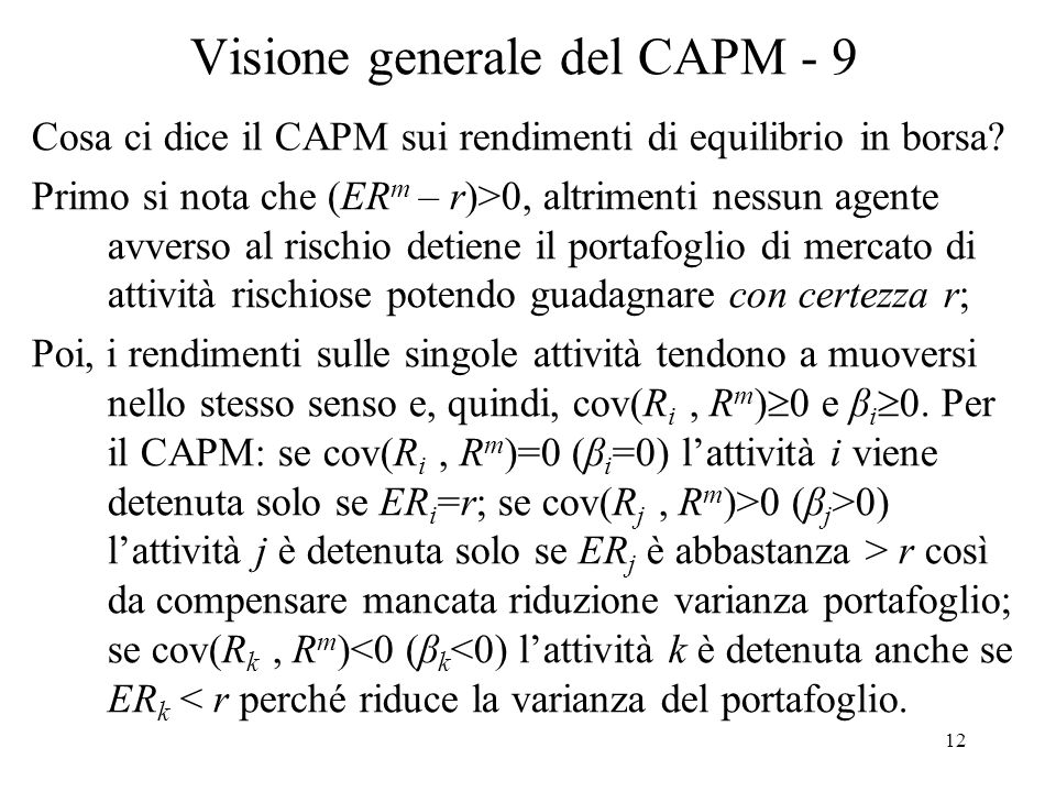 Visione generale del CAPM - 9