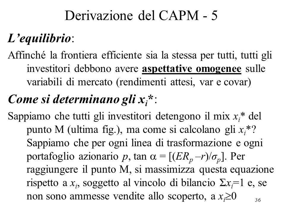 Derivazione del CAPM - 5 L'equilibrio: Come si determinano gli xi*: