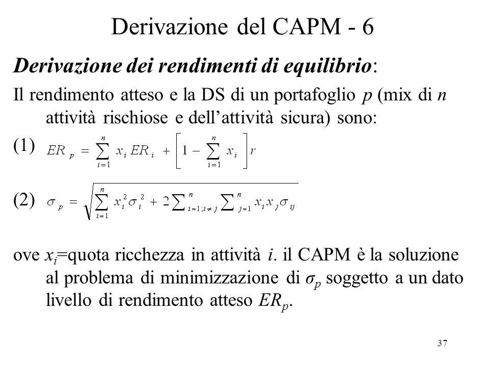 Derivazione del CAPM - 6 Derivazione dei rendimenti di equilibrio:
