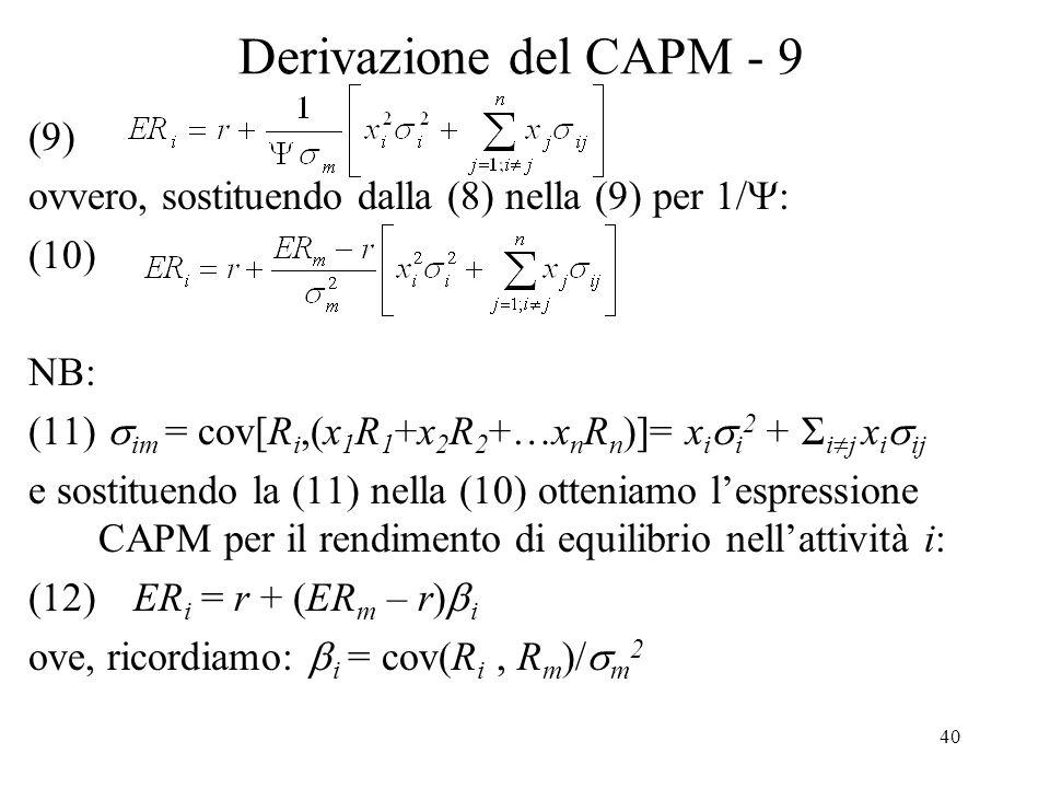Derivazione del CAPM - 9 (9)