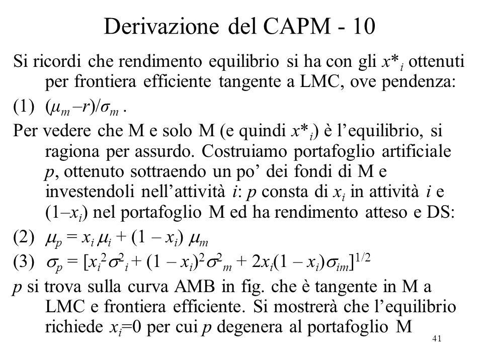 Derivazione del CAPM - 10 Si ricordi che rendimento equilibrio si ha con gli x*i ottenuti per frontiera efficiente tangente a LMC, ove pendenza: