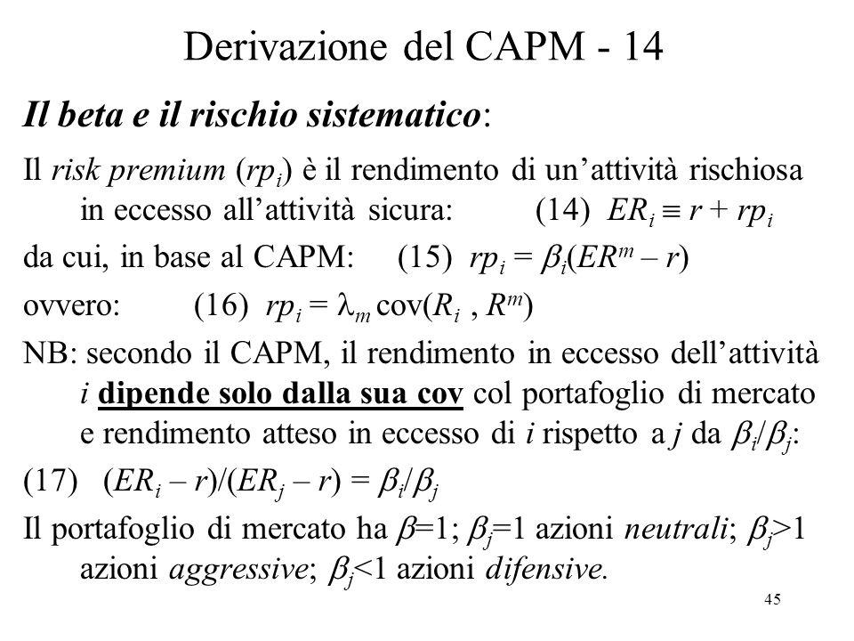 Derivazione del CAPM - 14 Il beta e il rischio sistematico: