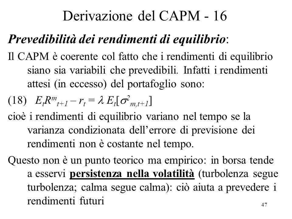 Derivazione del CAPM - 16 Prevedibilità dei rendimenti di equilibrio: