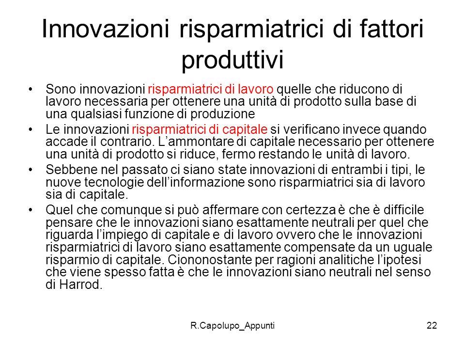 Innovazioni risparmiatrici di fattori produttivi
