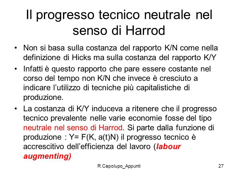 Il progresso tecnico neutrale nel senso di Harrod