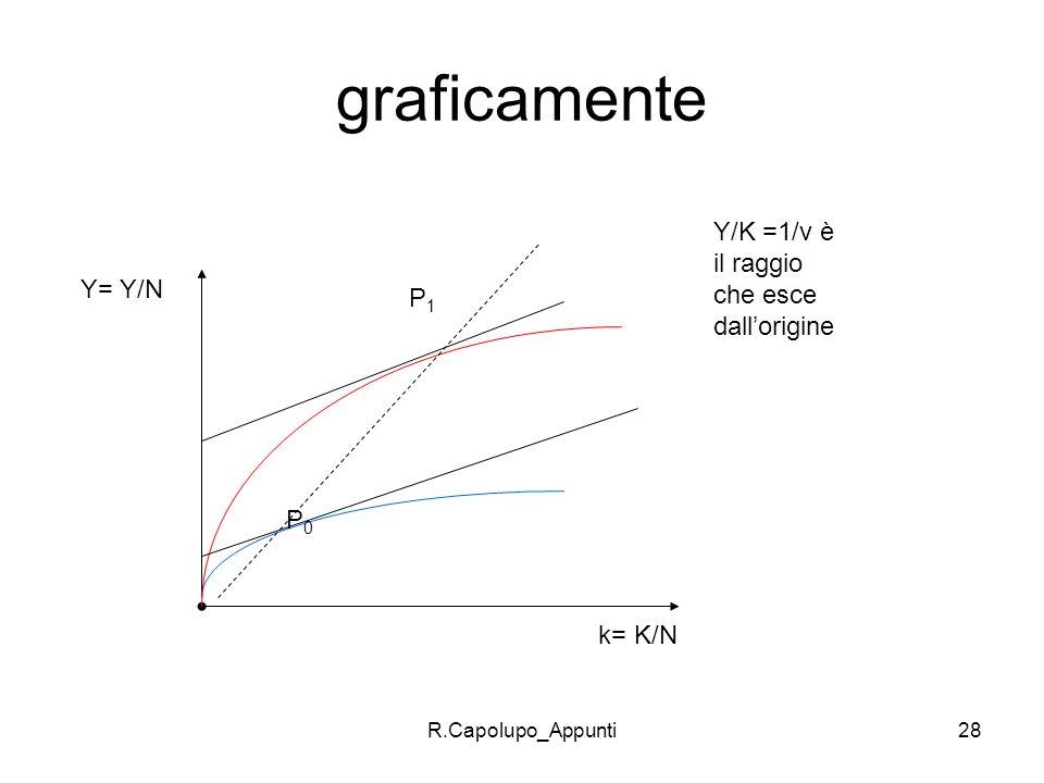 graficamente Y/K =1/v è il raggio che esce dall'origine Y= Y/N P1 P0