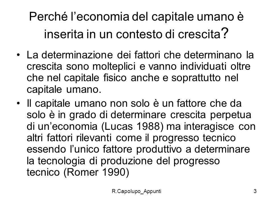 Perché l'economia del capitale umano è inserita in un contesto di crescita