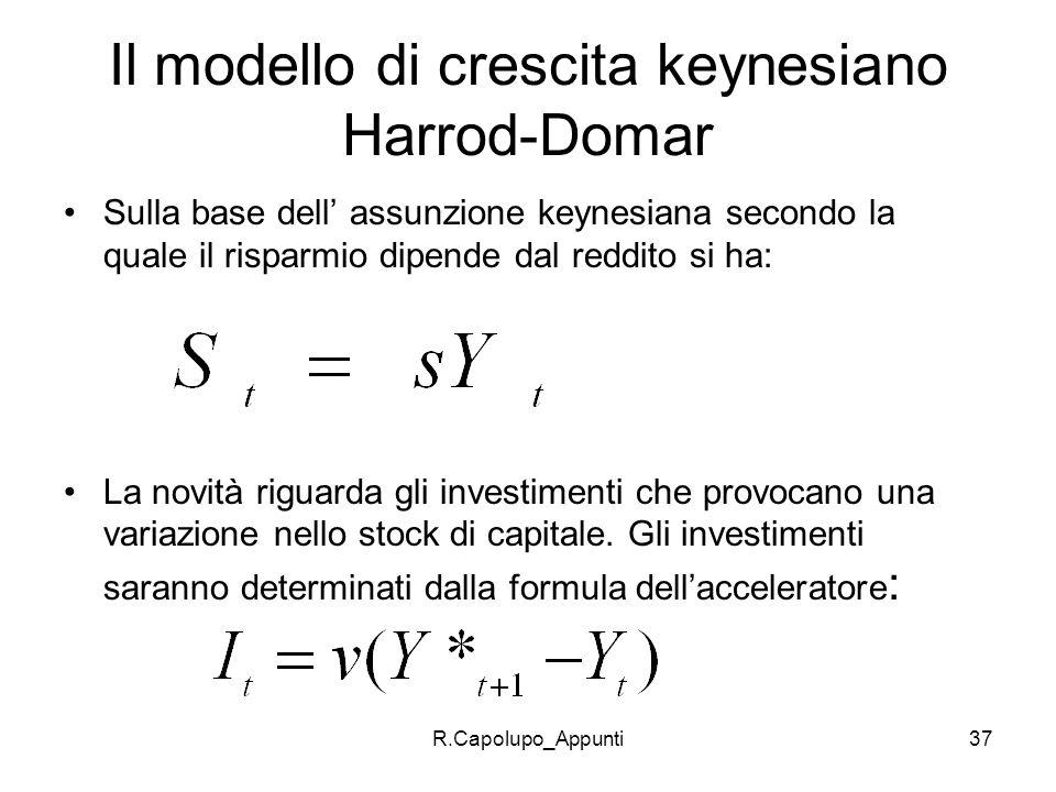 Il modello di crescita keynesiano Harrod-Domar