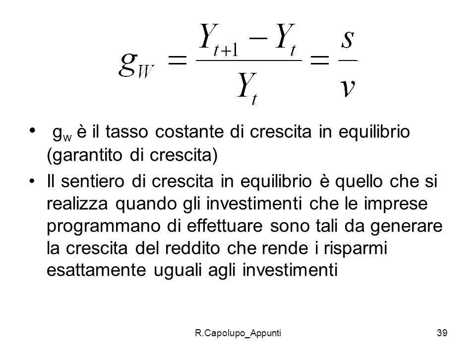 gw è il tasso costante di crescita in equilibrio (garantito di crescita)