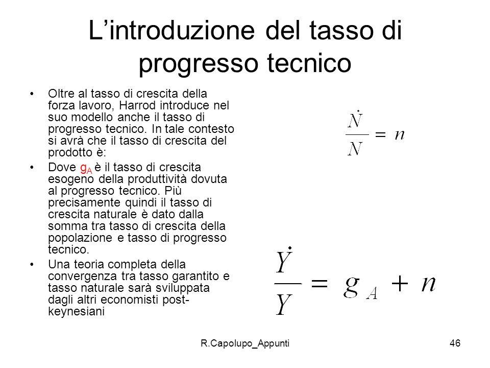 L'introduzione del tasso di progresso tecnico