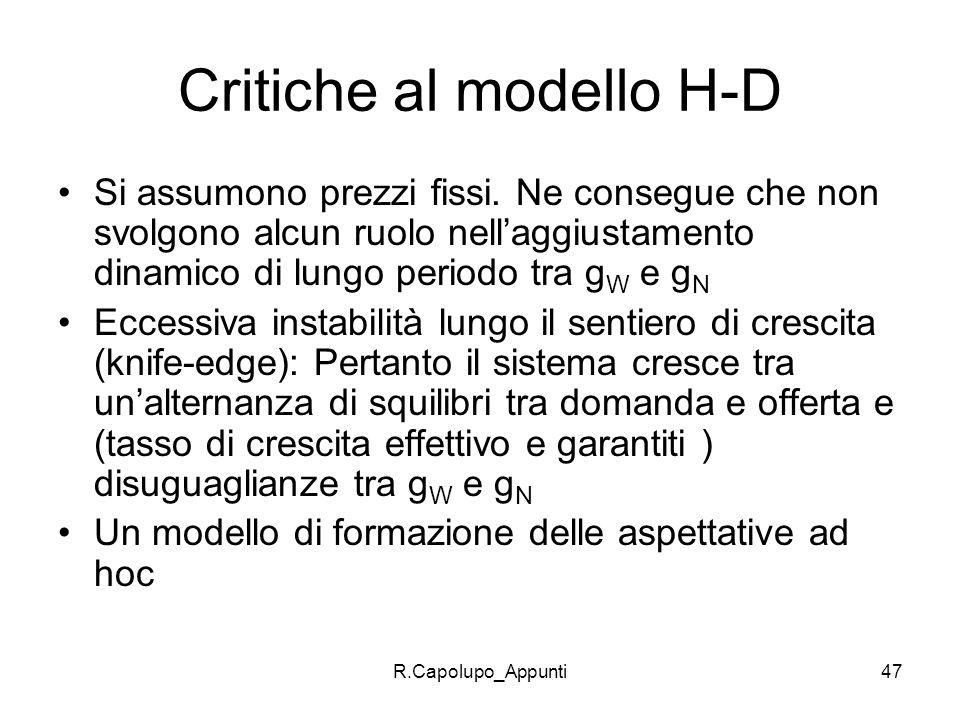 Critiche al modello H-D