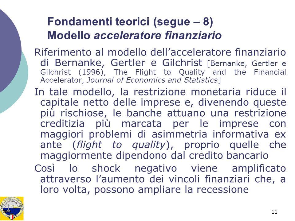 Fondamenti teorici (segue – 8) Modello acceleratore finanziario