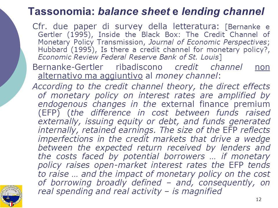 Tassonomia: balance sheet e lending channel