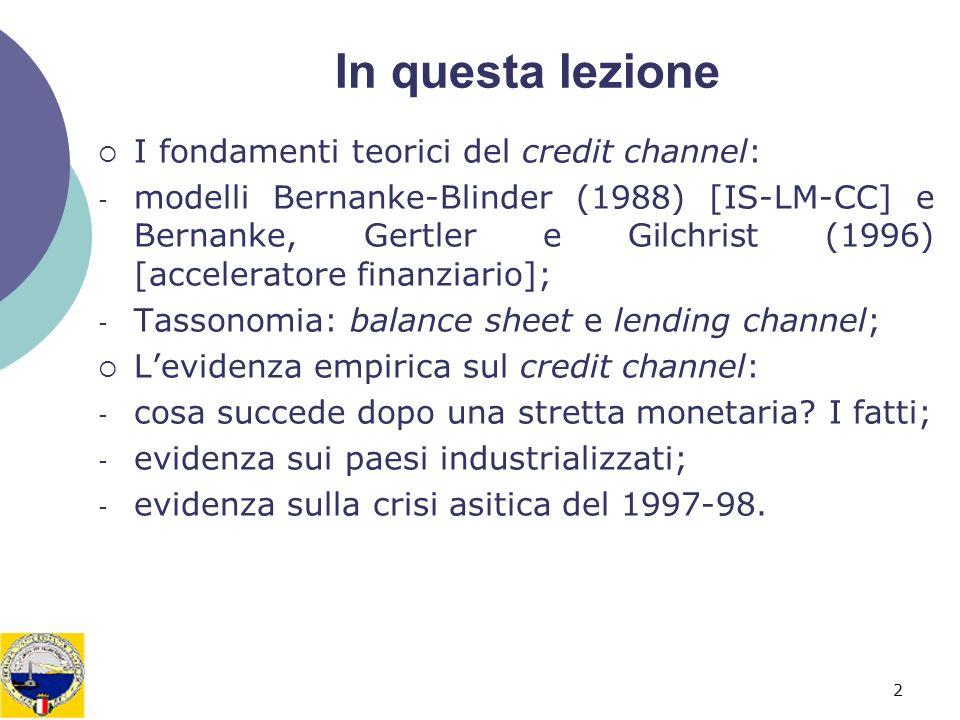 In questa lezione I fondamenti teorici del credit channel: