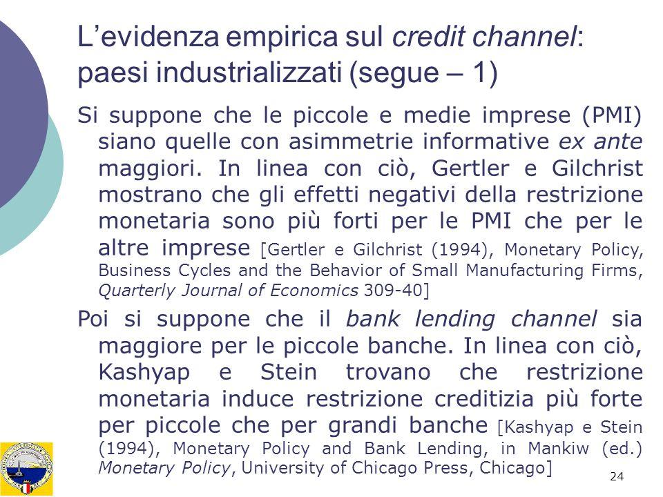 L'evidenza empirica sul credit channel: paesi industrializzati (segue – 1)