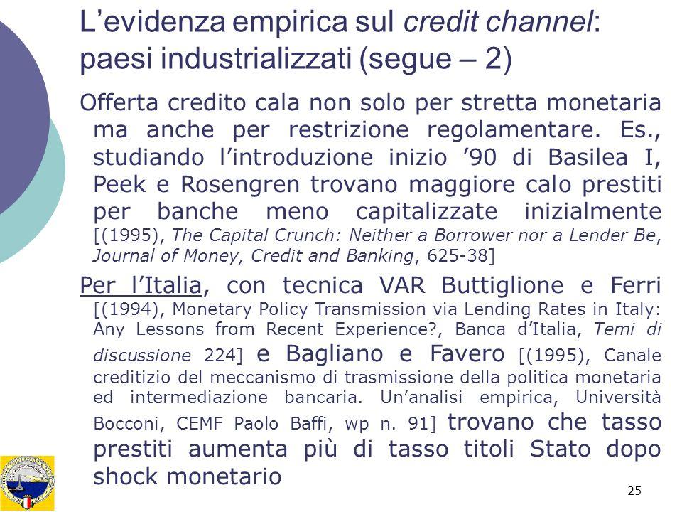 L'evidenza empirica sul credit channel: paesi industrializzati (segue – 2)
