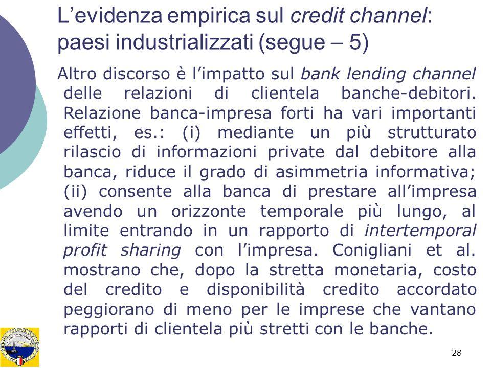 L'evidenza empirica sul credit channel: paesi industrializzati (segue – 5)