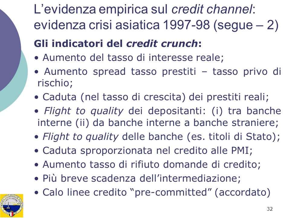 L'evidenza empirica sul credit channel: evidenza crisi asiatica 1997-98 (segue – 2)