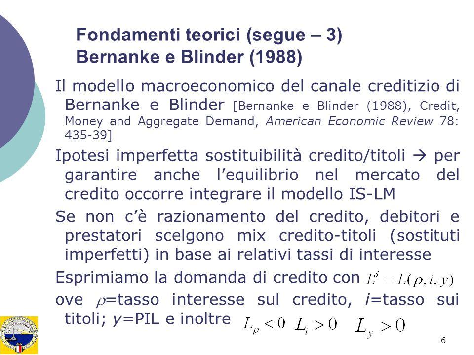 Fondamenti teorici (segue – 3) Bernanke e Blinder (1988)