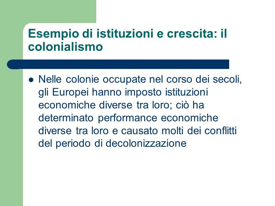 Esempio di istituzioni e crescita: il colonialismo
