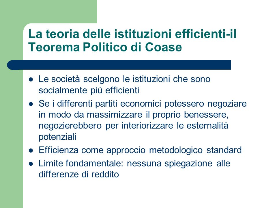 La teoria delle istituzioni efficienti-il Teorema Politico di Coase