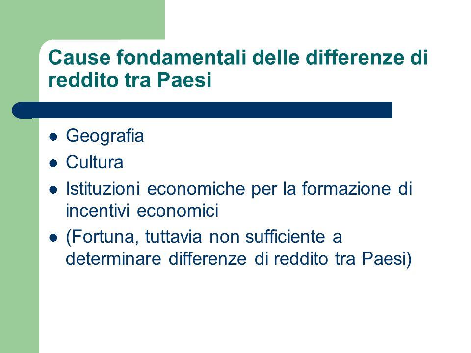Cause fondamentali delle differenze di reddito tra Paesi