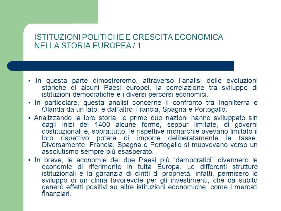ISTITUZIONI POLITICHE E CRESCITA ECONOMICA NELLA STORIA EUROPEA / 1