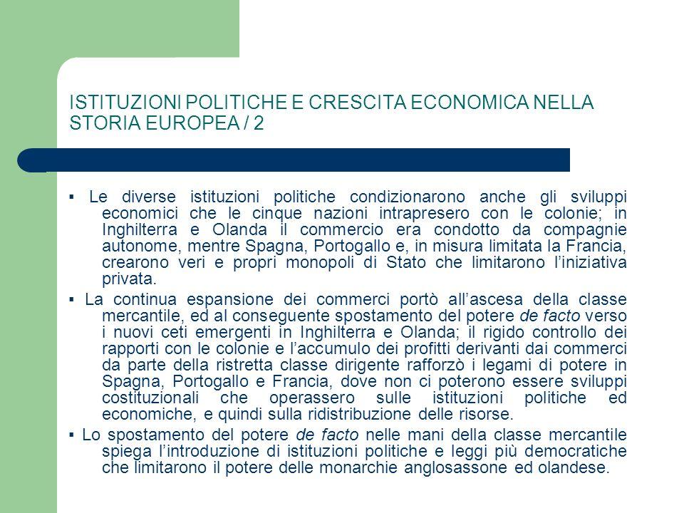ISTITUZIONI POLITICHE E CRESCITA ECONOMICA NELLA STORIA EUROPEA / 2