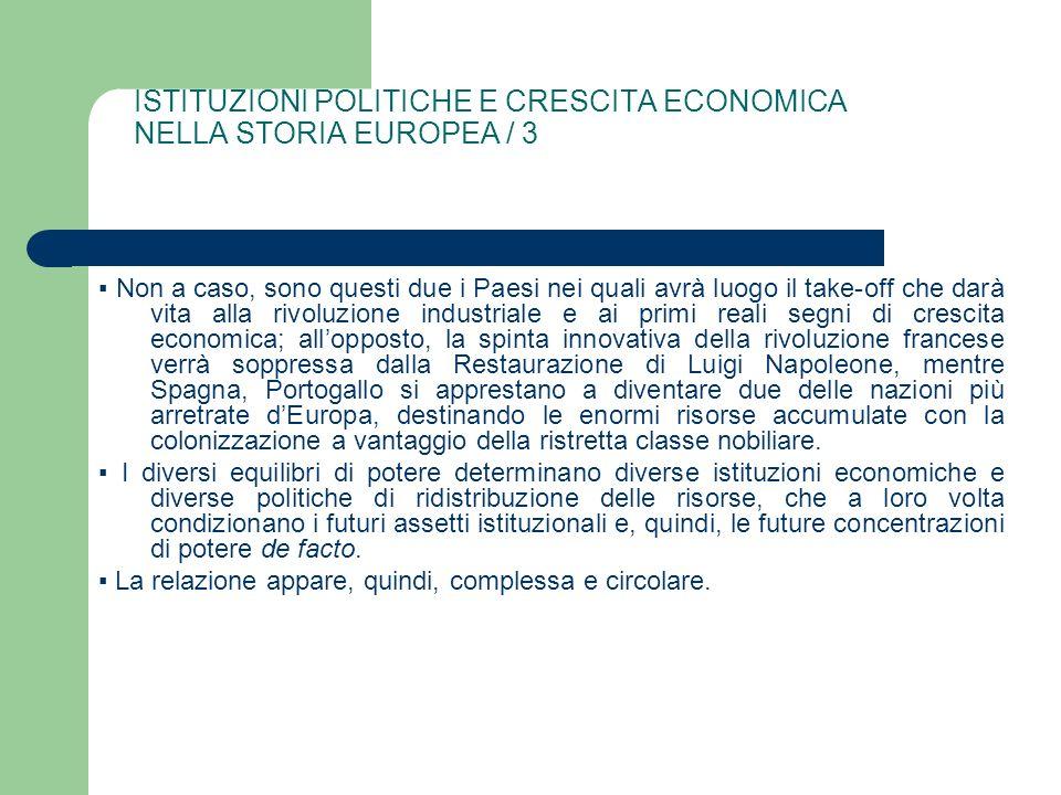 ISTITUZIONI POLITICHE E CRESCITA ECONOMICA NELLA STORIA EUROPEA / 3