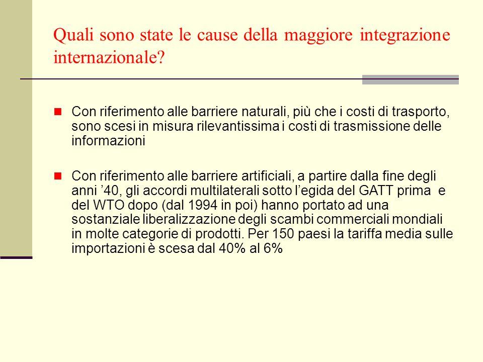 Quali sono state le cause della maggiore integrazione internazionale