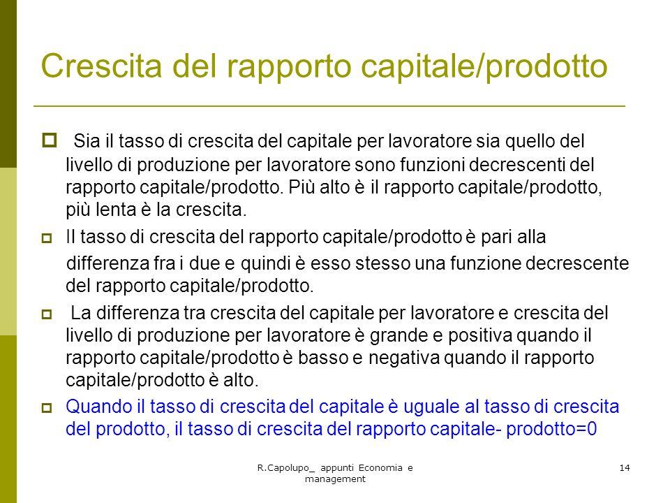 Crescita del rapporto capitale/prodotto